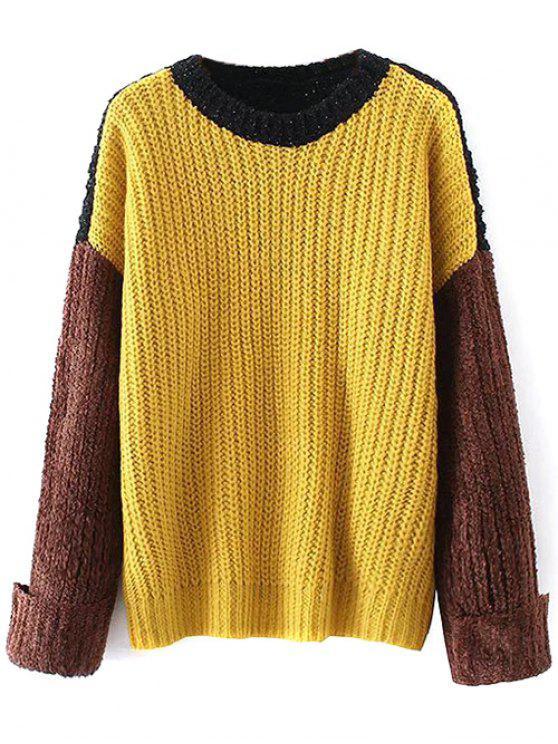 Oversized Color Block Chunky Sweater YELLOW: Sweaters ONE SIZE | ZAFUL