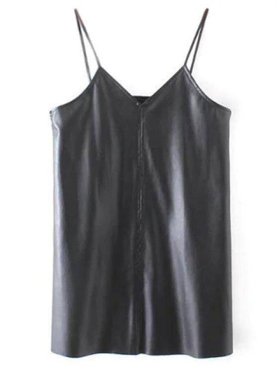 Cami cuero de la PU mini vestido - Negro S