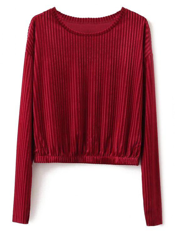 online Ribbed Long Sleeve T-Shirt - RED S