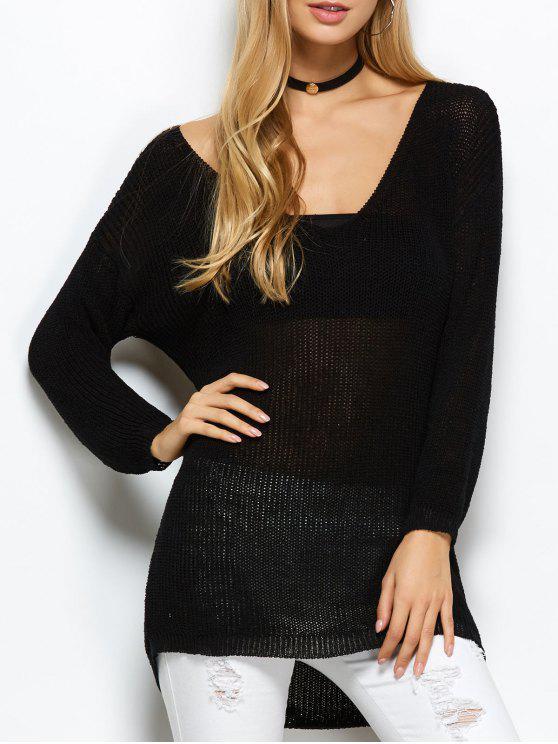 lady V Neck Open Stitch Sweater - BLACK ONE SIZE