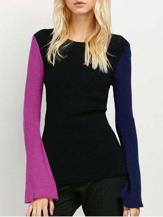 Contraste de Bell de la manga del suéter acanalado - Negro Única Talla