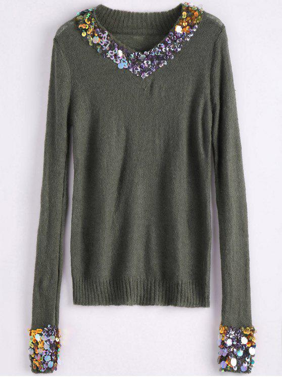 online V Neck Sequins Sweater - ARMY GREEN ONE SIZE