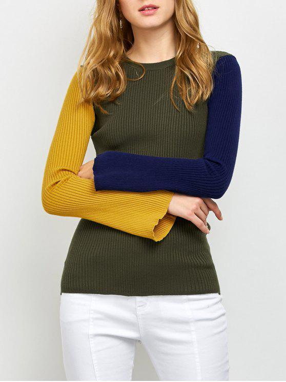 Kontrast gerippter Pullover mit Bell Ärmel - Armeegrün Eine Größe