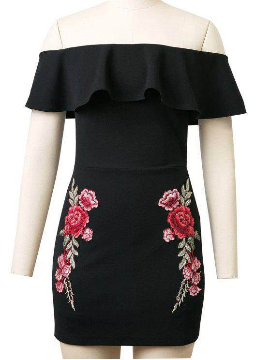 ladies Flounced Rose Embroidered Bodycon Dress - BLACK M