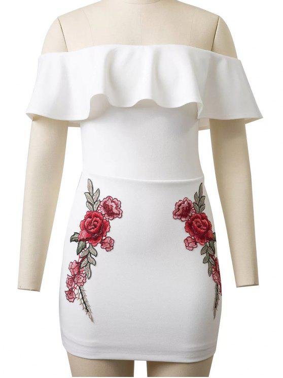 online Flounced Rose Embroidered Bodycon Dress - WHITE M