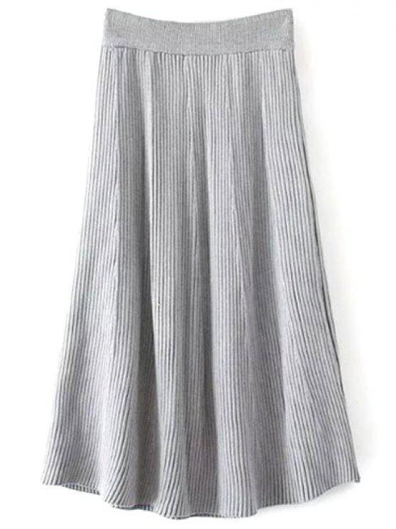 Artículos de punto acanalado falda de Midi - Gris Única Talla