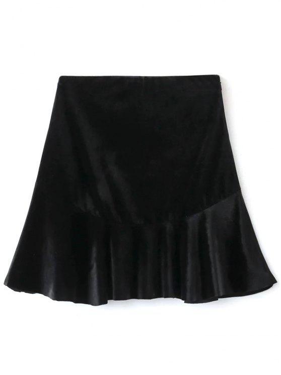 best Flounced Velvet A-Line Skirt - BLACK S