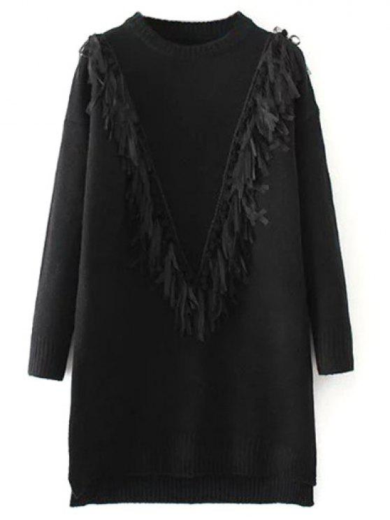 chic Tassel Round Neck High Low Jumper - BLACK ONE SIZE