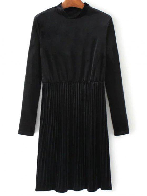 Vestido plisado de la vendimia del terciopelo de manga larga - Negro M