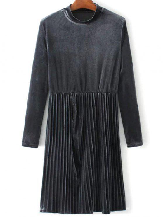 Vestido plisado de la vendimia del terciopelo de manga larga - Gris L