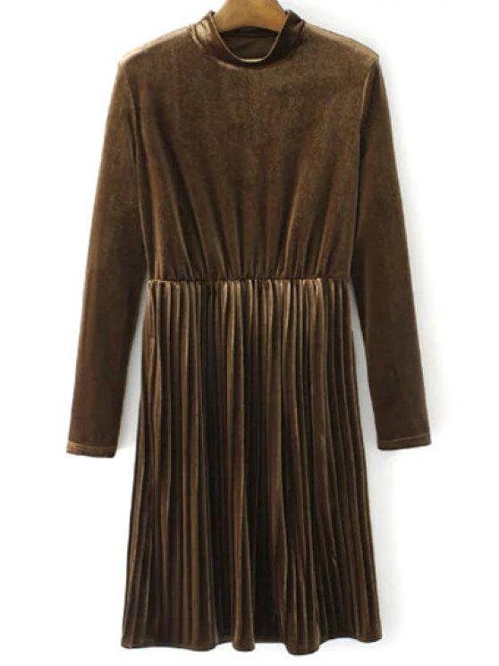 Vestido plisado de la vendimia del terciopelo de manga larga - Marrón L