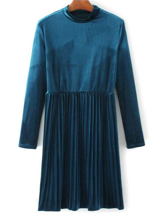 outfit Long Sleeve Vintage Velvet Pleated Dress - BLUE L