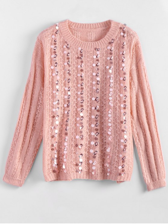 latest Crew Neck Sequins Sweater - PINK ONE SIZE