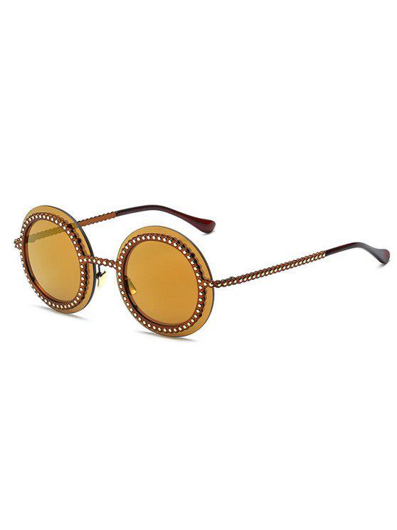 shop Rivet Gear Shape Round Mirrored Sunglasses - GOLDEN