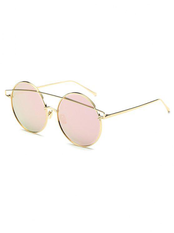 shops Metallic Crossbar Round Mirrored Sunglasses - PINK