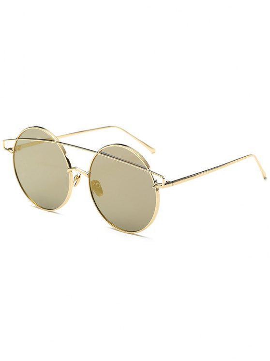 latest Metallic Crossbar Round Mirrored Sunglasses - GOLDEN