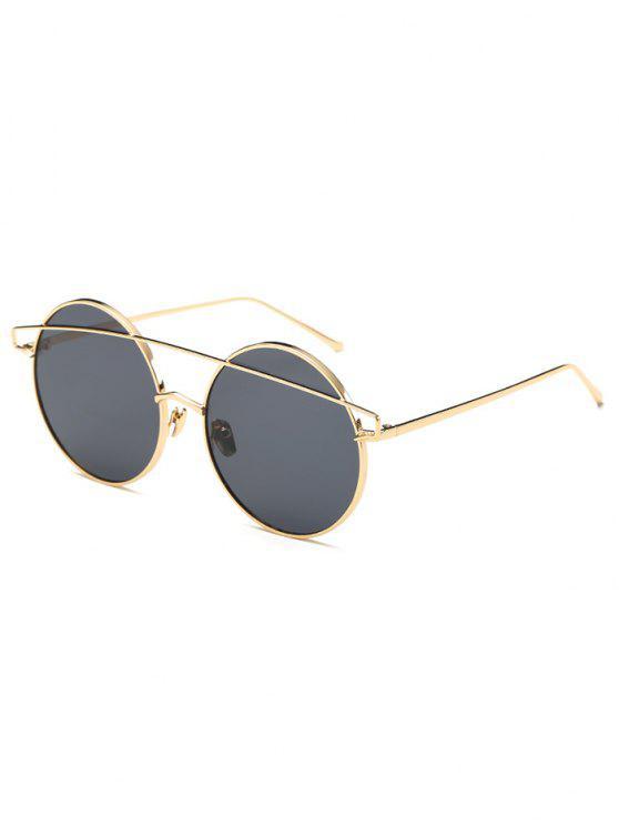 fancy Metallic Crossbar Round Sunglasses - BLACK
