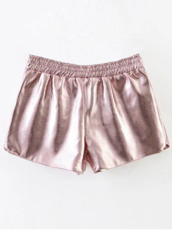shop Elastic Waist PU Leather Shorts - PINK S