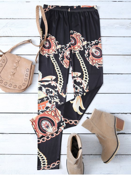 shop Gold Chain Patterned Leggings - BLACK XL