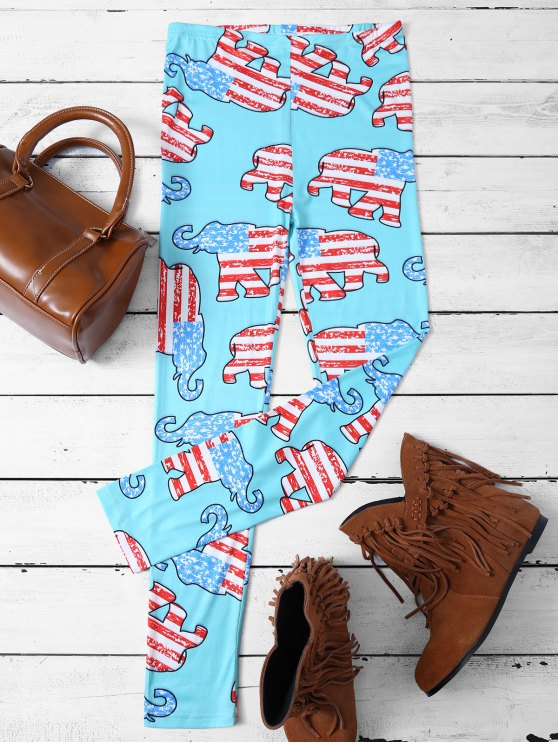 trendy Elephant Pattern Leggings - LAKE BLUE XL