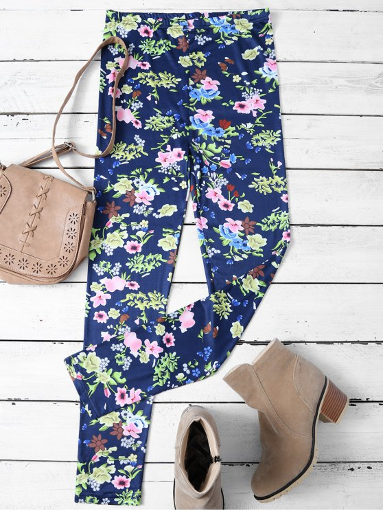 fancy Tiny Floral Pattern Leggings - FLORAL XL