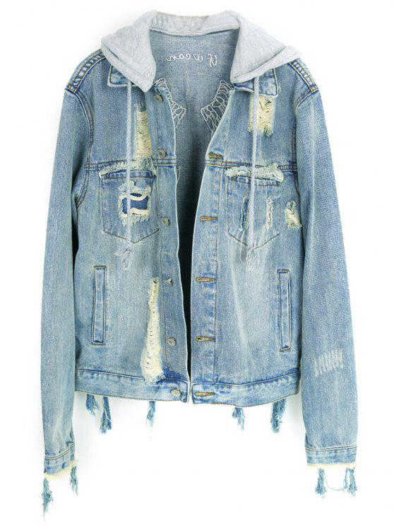 sale Embroidered Distressed Denim Jacket - LIGHT BLUE XS