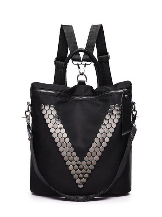 Sac à dos en nylon avec zip métallique - Noir