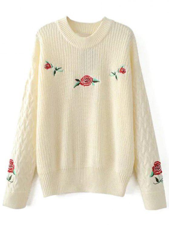 Pullover brodé fleurs - Blanc Cassé L