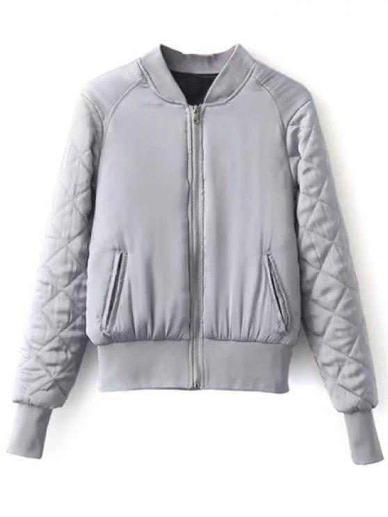 online Stand Neck Quilted Jacket - GRAY L