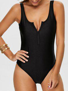 Backless Zipper Front Swimsuit - Black M