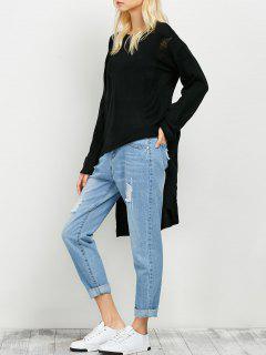 Suéter Rasgado Asimétrico Gran Tamaño - Negro