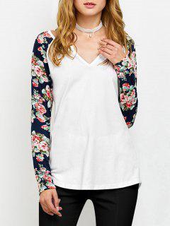 Camiseta De Manga Corta Con Estampado De Flores - Blanco Xl