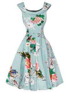 Cap Sleeve Floral Fit And Flare Dress - Light Green S