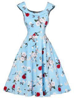 Cap Sleeve Floral Fit And Flare Dress - Charm L