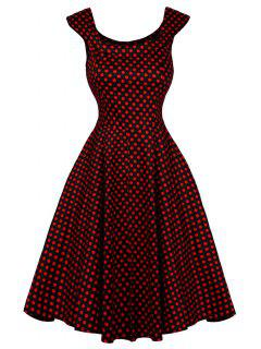 Cap Sleeve Polka Dot Swing Dress - Red L