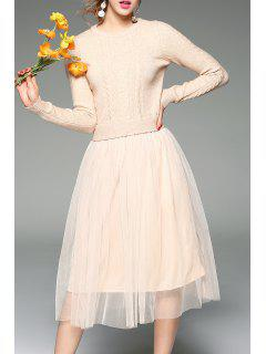 Robe Tulle Tricotée En Cable - Abricot