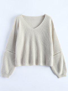 Zipper Ausschnitt V-Ausschnitt Pullover - Beige (weis)