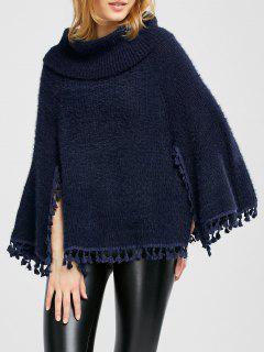 Cowl Neck Wool Poncho - Purplish Blue