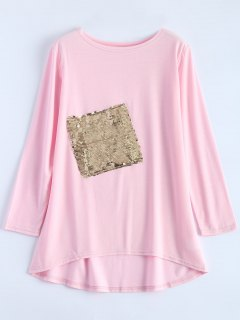 Sequined Asymmetric T-Shirt - Pink Xl