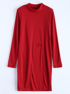 Camiseta Cuello Alto Rajada - Rojo M