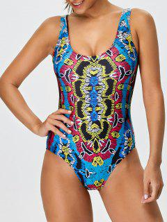 High Leg Printed Tummy Control Swimsuit - Multicolor S