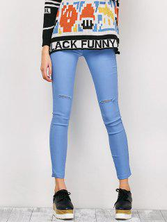 Ripped Skinny Pencil Jeans - Light Blue Xl