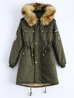 Patch Hooded Parka Coat - Army Green M