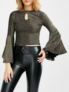 Keyhole Bell Sleeve Glitter Top - Golden