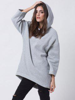 Pullover High Low Hoodie - Light Gray 2xl