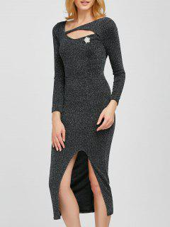 Shimmer Pencil Dress - Silver Gray