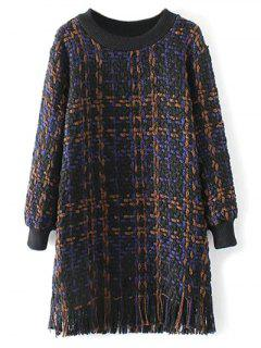 Heathered Fringed Sweater Dress - Purplish Blue M