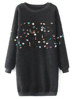 Sequined Lamb Wool Straight Dress - Black