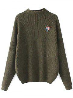 Oversized Mock Neck Sweater With Brooch - Army Green