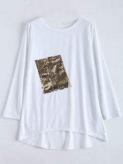 Camiseta Asimétrica Adornada Lentejuelas - Blanco Xl